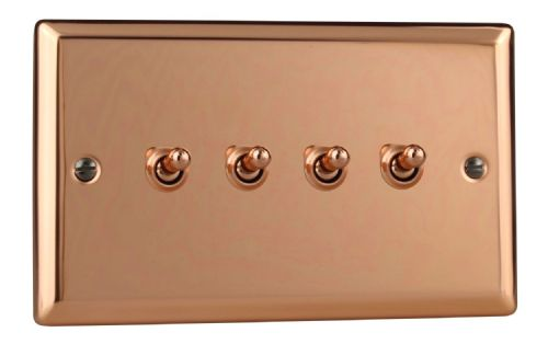 Varilight XYT9.CU Urban Polished Copper 4 Gang 10A 1 or 2 Way Toggle Light Switch